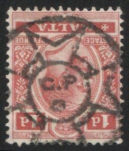 MALTA  1915 Sc 51  1d GV VF, SOTN Maltese Cross / GPO postmark/cancel