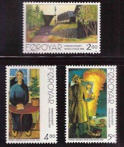 FAROE ISLANDS Scott 284-286 MNH** 1995 Nordic Art set CV $3.95
