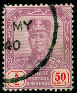 MALAYSIA - Johore SG119, 50c dull purple & red, FINE USED. WMK SCRIPT CA.