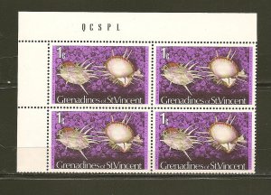 Grenadines of St Vincent Atlantic Thorny Oyster Block of 4 MNH