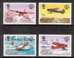 BRITISH ANTARCTIC 1983 Manned Flight Bicentenary; Scott 117-20, SG 119-22; MNH