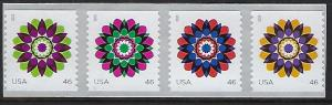Catalog # 4722 25  Coil  Strip of 4 Stamps Kaleidoscope Flowers