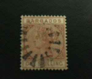 Barbados: 1886, One Shilling, Chestnut, SG 102, fine used.