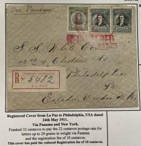 1911 La Paz Bolivia Registered Cover To Philadelphia PA USA Reduced Fee
