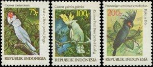 Indonesia 1981 Sc 1163-1165 Birds Cockatoo CV $9.25