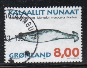 Greenland Sc 322 1997 8.0kr Whales stamp used