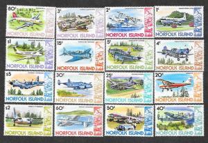 Norfolk Island 256-270 Mint NH Aircraft!