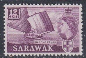 Sarawak 1957 Scott 203 Queen and barong panau MLH