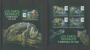 CA606 2013 CENTRAL AFRICA FAUNA ANIMALS WILD CATS FROM SOUTH AMERICA KB+BL MNH