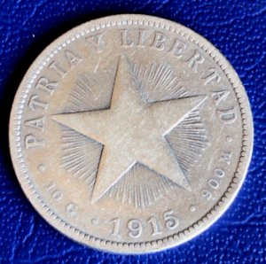 1915 Cuba Silver Coin 40c Silver Star Coin Circulated