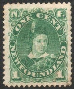 NEWFOUNDLAND-1898 1c Deep Green Sg 63a MOUNTED MINT V46301