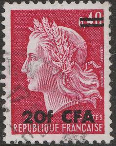 ILE DE LA RÉUNION 1969 Yv.385/Mi.463 20fr CFA/ 40c Marianne de Cheffer Obl. TB