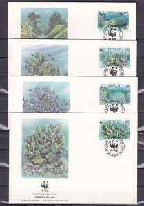 Tuvalu, Scott cat. 617-619. WWF-Coral issue. 4 First day covers. ^
