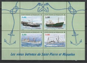 1996 St. Pierre and Miquelon - Sc 628 - MNH VF - 1 MS - Ships
