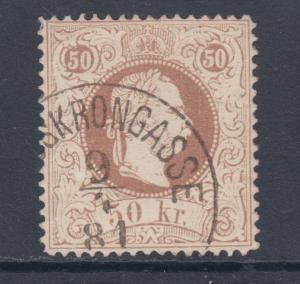 Austria Sc 40a used 1874 50kr red brown Franz Josef, perf 13
