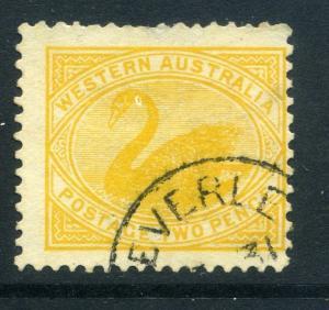 WESTERN AUSTRALIA Early 1900s Swan Type 2d. used Town POSTMARK, Beverley