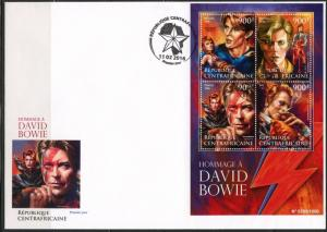 CENTRAL AFRICA 2015 TRIBUTE TO DAVID BOWIE SHEET FIRST DAY COVER