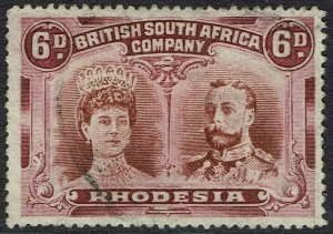RHODESIA 1910 KGV DOUBLE HEAD 6D PERF 15 USED