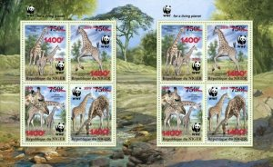 Niger - 2019 West African Giraffe & WWF Overprint - 8 Stamp Sheet - NIG190524e1