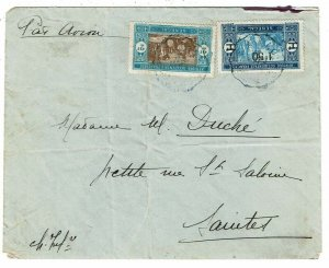 Senegal 1929 Sakao cancel on airmail cover to France