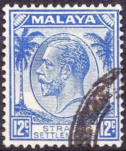MALAYA STRAITS SETTLEMENTS 1936 KGV 12 Cents Bright Ultramarine SG267 Used