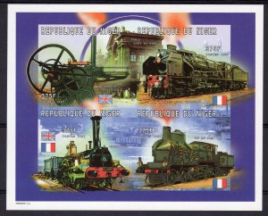 Niger 1997 Sc#956 Early Locomotives  Flags Sheetlet (4) IMPERFORATED MNH
