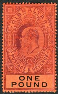 GIBRALTAR-1908 £1 Deep Purple & Black/Red.  A lightly mounted mint example Sg 64
