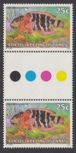 Cocos Islands 41 gutter pair MNH