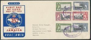 JAMAICA 1955 commem flight cover to UK - Post Office 300 TRD...............46373