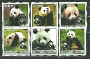 St. Thomas & Prince Islands MNH 1508A-F Panda Bears SCV 9.00