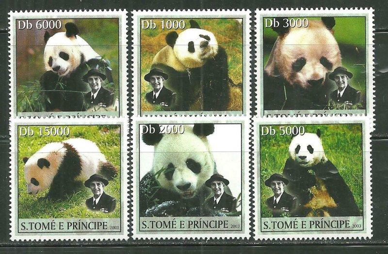 St. Thomas & Prince Islands MNH 1508A-F Panda Bears SCV 9.00
