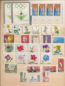 POLAND Sheets Art Aviation Sport Flowers MNH(Appx 80+ Items)(RefAC1388