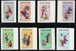 North Viet Nam - 1972 - Sc 677 - 684 - Tay Nguyen Folk Dances - Imperf - MNH