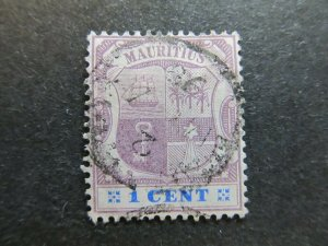 A4P43F52 Mauritius 1895-99 Wmk Crown CA 1c used