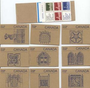 Canada - 1988 Parliament Bldgs. Set of 10 Booklets #BK96a - Blue Tab Markings