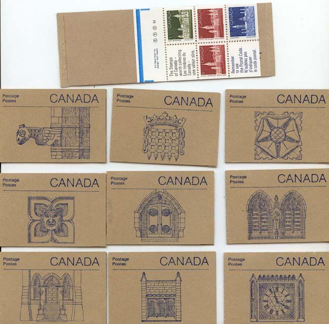Canada - 1988 Parliament Bldgs. Set of 10 Booklets #BK96a - Blue Tab Markings