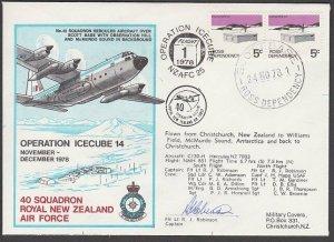 NEW ZEALAND ANTARCTIC 1978 RNZAF signed flight cover ex Scott Base..........A807