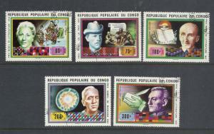 Congo Peoples Republic #447-51 comp used cv $1.90 Nobel Prize