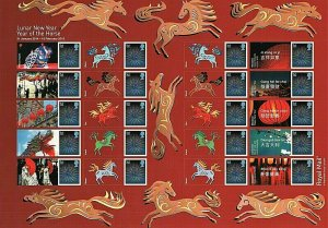 LS89 GB 2014 Lunar New Year - Horse Smiler sheet UNMOUNTED MINT/MNH