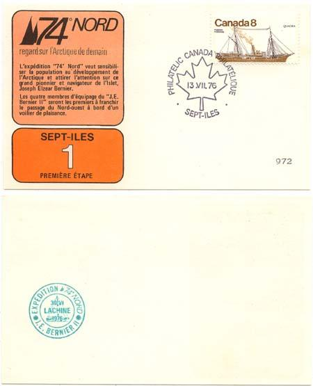 Canada - 1976 Voyage of Bernier II 74 Nord Expedition Card
