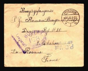 Germany 1917 POW Cover / Multi Censor / PFROZHEIM CDS - Z14398