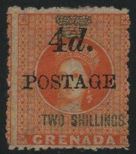GRENADA-1888-91 4d on 2/- Orange Sg 41 MOUNTED MINT V39701