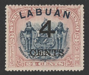 LABUAN : 1899 Large '4 CENTS' on Arms 24c blue & lilac-brown, perf 16.