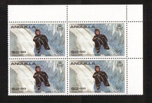 Anguilla  #380  MNH  1980  Olympic games Lake Placid  $2.50  block of 4.  Luge
