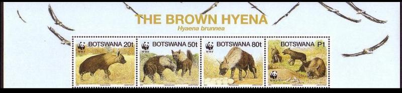 Botswana WWF Brown Hyena Strip of 4v with Animal's name SG#809/12 SC#586 a-d