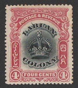 LABUAN : 1902 Crown 4c, variety 'line through B'. SG 120c cat £90.