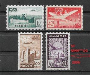 French Morocco 1952,Airmail,Scott # C42-C44 VF MLH*OG,Scott # C45,200fr VF MNH**