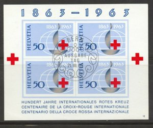 Switzerland, 1963 Red Cross Centennial Souvenir Sheet, used, no faults