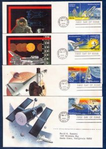 US Sc 1912-1919 FDC LOT OF FOUR SPACE ACHIEVEMENT ISSUES OF 1981 VF