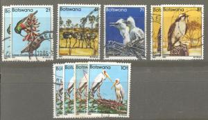 Botswana Sc# 304-311 SG# 516-523 (Assorted) Used 1982 Defs/Birds